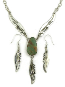 Natural Low Mountain Turquoise Feather Necklace Set by Fritson Toledo (NK4617)