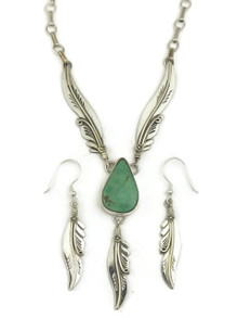 Natural Low Mountain Turquoise Silver Feather Necklace Set by Fritson Toledo (NK4618)