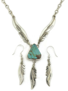 Natural Blue Ridge Turquoise Silver Feather Necklace Set by Fritson Toledo (NK4620)