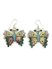 Multi Gemstone Inlay Butterfly Earrings by Tamara Pinto