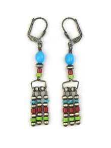 Turquoise, Coral & Gaspeite Beaded Earrings with Lever Backs