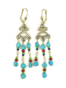 Turquoise, Coral, Lapis & Gaspeite Beaded Earrings with Lever Backs