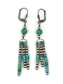 Turquoise Beaded Earrings with Lever Backs