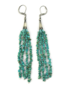 Long Beaded Turquoise Earrings on Lever Backs