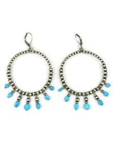 Turquoise & Silver Bead Loop Earrings on Lever Backs