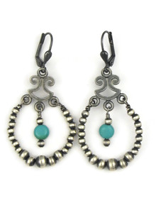 Turquoise & Silver Bead Earrings with Lever Backs