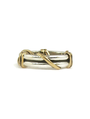 12k Gold & Silver Wire Wrap Ring Size 7
