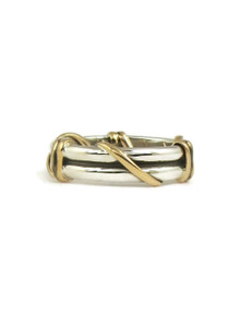 12k Gold & Silver Wire Wrap Ring Size 8