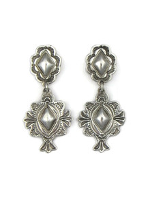 Sterling Silver Stamped Concho Earrings by Les Baker Jewelry