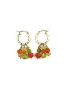 Multi Gemstone Beaded Hoop Earrings
