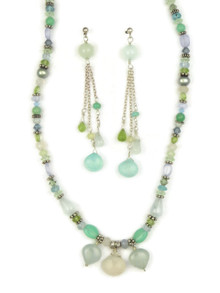 Multi Gemstone Beaded Necklace & Earring Set