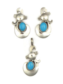 Sleeping Beauty Turquoise Pendant & Earring Set by Les Baker Jewelry