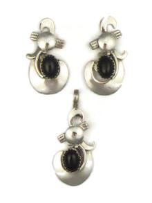 Onyx Pendant & Earring Set by Les Baker Jewelry