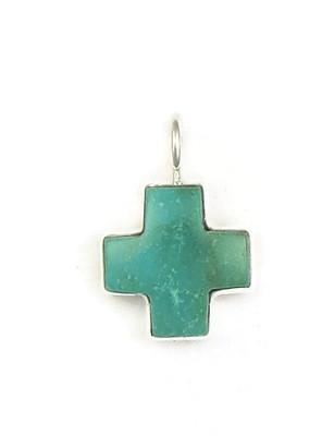 Kingman Turquoise Cross Pendant by Bernyse Chavez (PD3936)