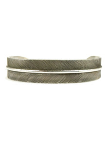 "Sterling Silver Feather Bracelet 1/2"" by Lena Platero"