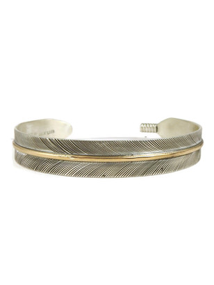 "12k Gold & Sterling Silver Feather Bracelet 3/8"" by Lena Platero"