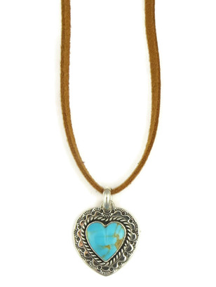 Kingman Turquoise Heart Leather Pendant Necklace (NK4522)