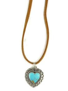 Kingman Turquoise Heart Leather Pendant Necklace (NK4523)