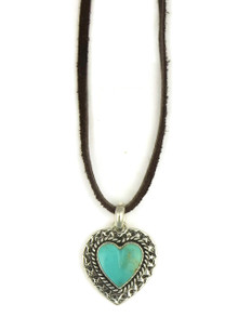 Kingman Turquoise Heart Leather Pendant Necklace (NK4524)