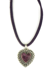 Purple Spiny Oyster Shell Leather Pendant Necklace