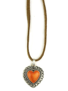 Spiny Oyster Shell Heart Leather Pendant Necklace