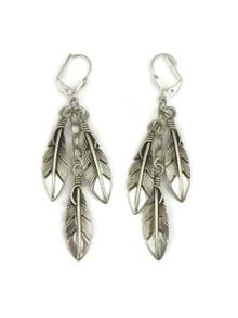 Sterling Silver Three Feather Earrings by Raymond Coriz