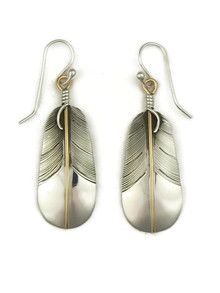12k Gold & Silver Feather Earrings by Lena Platero