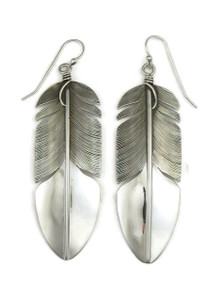 "Sterling Silver Feather Earrings 2 7/8"" by Lena Platero"