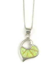 Opal Inlay Open Heart Pendant