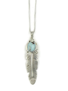 Dry Creek Turquoise Feather Pendant by June Defauito (PD4006)