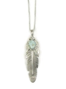 Dry Creek Turquoise Silver Feather Pendant by June Defauito