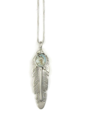 Dry Creek Turquoise Silver Feather Pendant by June Defauito (PD4008)