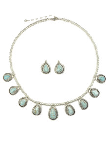 Natural Dry Creek Turquoise Necklace Set by Larry M Yazzie (NK4528)