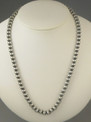 Antiqued Sterling Silver 6mm Bead Necklace 26""