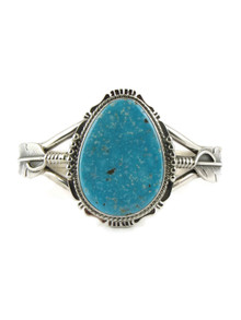 Kingman Turquoise Silver Feather Bracelet by John Nelson (BR4680)