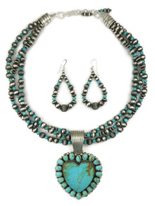 Kingman Turquoise Heart Necklace Set by LaRose Ganadonegro (NK4624)