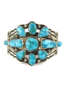Kingman Turquoise Cluster Bracelet by Aaron Toadlena