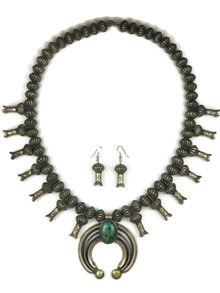 Pilot Mountain Turquoise Squash Blossom Necklace Set by Eugene Hale