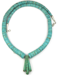 "Turquoise Heishi Tab Necklace 28"" by Lupe Lovato"