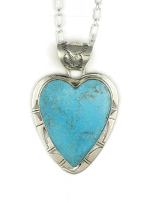 Kingman Turquoise Heart Pendant by Phillip Sanchez (PD4025)