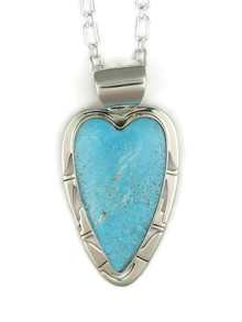Kingman Turquoise Heart Pendant by Phillip Sanchez (PD4026)