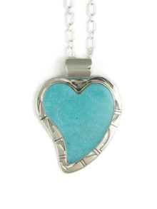 Kingman Turquoise Heart Pendant by Phillip Sanchez (PD4027)