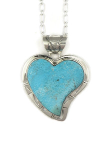Kingman Turquoise Heart Pendant by Phillip Sanchez (PD4028)