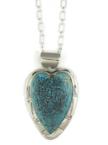 Kingman Turquoise Heart Pendant by Phillip Sanchez (PD4029)