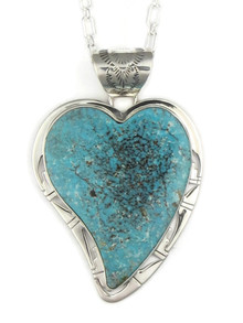 Kingman Turquoise Heart Pendant by Phillip Sanchez (PD4031)