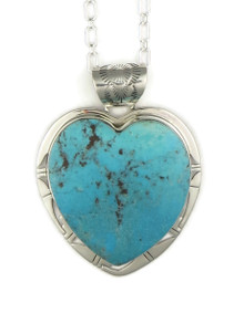 Kingman Turquoise Heart Pendant by Phillip Sanchez (PD4032)