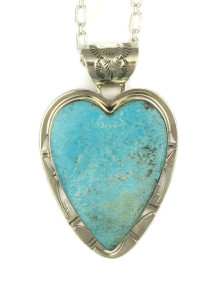 Kingman Turquoise Heart Pendant by Phillip Sanchez (PD4034)