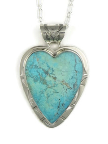 Kingman Turquoise Heart Pendant by Phillip Sanchez (PD4035)