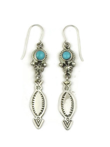 Number 8 Turquoise Dangle Earrings by Jeff Largo