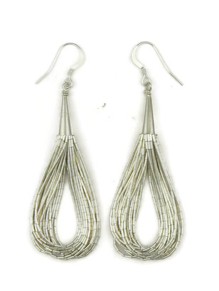 20 Strand Liquid Silver Earrings 2 3/4""